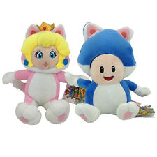 2X Super Mario 3D World Character Cat Princess Peach Toad Plush Toy Figure 7""