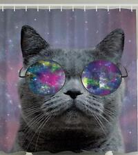 CAT WEARING ROUND HIPPIE GLASSES SPACE BACKGROUND GALAXY GROOVY Shower Curtain