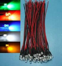 (50 PCS) Mixed Color 5mm Flat Top LED Wired Light 5V 12V red yellow white green