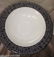 "ARABIA OF FINLAND ARA164 EGO 9 3/4"" PASTA OR SOUP BOWL GREY RIM WHITE LINES"