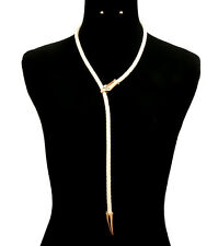 UNUSUAL Statement Gold Cream Rope Snake  Necklace Set By Rocks Boutique