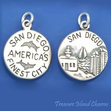 SAN DIEGO CALIFORNIA AMERICA'S FINEST CITY 925 Solid Sterling Silver Round Charm