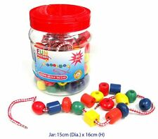 *NEW IN BOX* FUN FACTORY Lacing Beads in a Jar - Wooden - 90 pieces