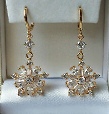 18k Gold Plated Cubic Zirconia Cluster Drop Dangle Earrings Top Quality.
