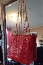 a8e0688e9a4d FENDI Tote Bag Leather Red Purse Gold Chain FENDI ROMA Vintage