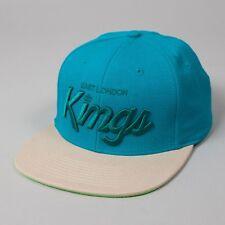 King Apparel elk script turquoise tan flat peak snapback hat cap