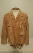 Mens Vintage Marlboro Leather Suede Fringe Jacket Biker Western Coat Medium