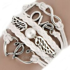 Fashion multicapa infinito encanto Bracelet pulsera Cuff Bangle cadena Blanco