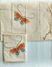 Hanae Mori Butterfly Pillowcase Pair Vintage Percale