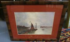 FINE ANTIQUE CIRCA 1910 SAIL BOATS IN HARBOR PAINTING FROM BELLEVUE,KY. ESTATE