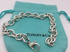 Tiffany & Co Sterling Silver Charm Bracelet Bangle 7.5  Inches