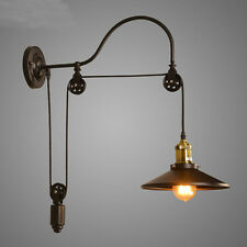 Vintage Wall Lamp Antique American Style Lift Retractable Pulley Wall Sconce