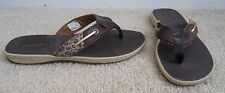 SPERRY TOP-SIDER Brown Leather Sequin Cheetah Seafish Thong Sandal 7.5 EXC COND!