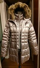 Lands' End Hooded Down Puffer Coat M 10 12 NWOT Silver Pewter Faux Fur