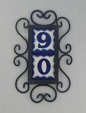 2 BLUE Mexican Ceramic Number Tiles & Vertical Iron Frame