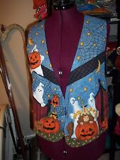LADIES SIZE LARGE HALLOWEEN FALL VEST HOME MADE PUMPKIN GHOST WITCH CANDY CORN