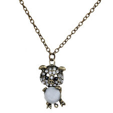 New Bronze Chain Lovely Pig Carve Clear Crystal Pendant Necklace Women Gift