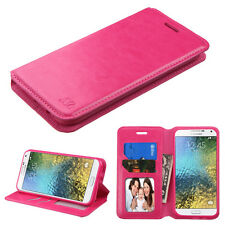 NEW For SAMSUNG Galaxy E5 / S978L PINK WALLET LEATHER ACCESORY SKIN COVER CASE