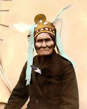 "GERONIMO NATIVE AMERICAN INDIAN APACHE 1901 8x10"" HAND COLOR TINTED PHOTOGRAPH"