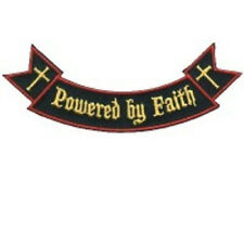 POWERED BY FAITH ROCKER CHRISTIAN EMBROIDERED BIKER PATCH