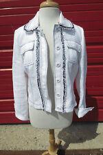 Worth White Pique Jacket w/Navy Blue Fringe Trim Sz 8 Boxy