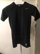 NIKE PRO COMBAT COMPRESSION DRI-FIT , SHORT SLEEVE  SHIRT, BLACK, LARGE