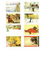 NEU! Postkarten-Set Carl Larsson: Winter / Weihnachten — 8 Kunst Postkarten