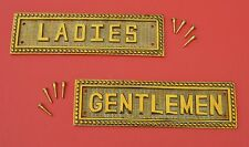 Polished Bronze Rest Rooms Signs, Plaques, Gentleman,Ladies with brass screws,