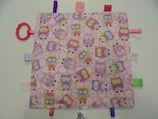 Baby Taggie -Tag Blanket Comforter Sensory Toy - Pink Purple Owls - Perfect Gift