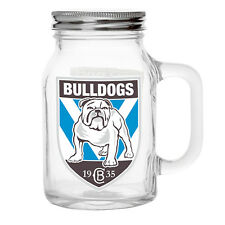 NRL Canterburry Bulldogs TEAM Glass Mason Jar With Handle Fathers Day Man Cave