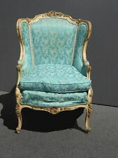 Vintage French Provincial Rococo Carved Turquoise Accent CHAIR w Down Cushion