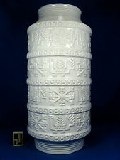"Weiße / white  70´s design BAY Keramik "" Relief "" pottery vase 64 - 50"