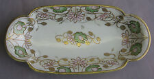 Hand Paint NIPPON Green Maple Leaf Mark Moriage Water Lily Art Deco Celery Dish
