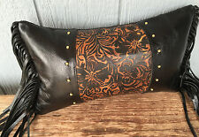 Black fringe leather pillow with embossed leather inset