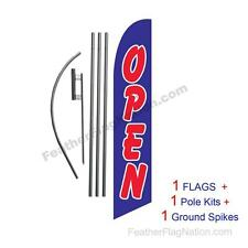 Open (blue and red) 15' Feather Banner Swooper Flag Kit with pole+spike