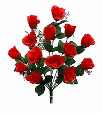 14 Long Stem Roses ~ RED ~ Silk Wedding Flowers Centerpieces Bouquets Decoration