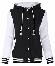 Womens Plain Varsity Baseball Jacket Coat College Casual Sports Tops hooded New