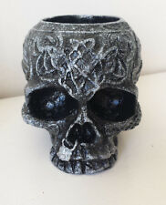 Silver Skull Tea light Candle Holder Gothic Twilight Celtic  Ornament - Handmade