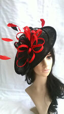 BLACK & RED FEATHER FASCINATOR HAT.Shaped saucer Wedding.races hatinator