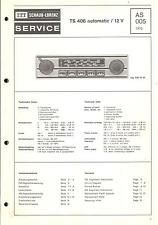ITT Original Service Manual Autoradio TS 406 AUTOMATIC/12 V