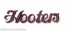 """HOOTERS SILVER PINK RHINESTONES HOOTERS NAME 3 5/8"""" LAPEL PIN BUTTON"""