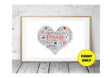 A4 Personalised Best Friend Heart Word Art Print with cute birds hearts flowers