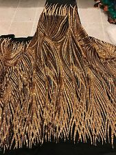 "BLACK STRETCH MESH W/GOLD SEQUIN EMBROIDERY LACE FABRIC 52"" WIDE 1 YARD"