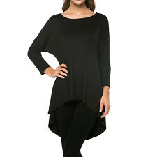 Fashion Women's Loose 3/4 Sleeve High-Low Long Tunic Top Blouse T-Shirt USA Plus