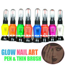 8 FULL SANTEE GLOW IN DARK NAIL ART DRAW PEN & THIN BRUSH POLISH LACQUER -N99
