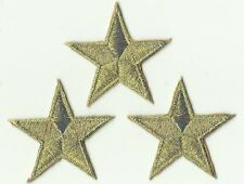 LOT 3 ECUSSON PATCH THERMOCOLLANT ETOILE OR 4,5 X 4,5 CMS GOLD STAR