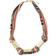INSPIRED MULTI STRAND LEATHER TWIST HAMMERED GOLD BOHO KNOT STATEMENT NECKLACE