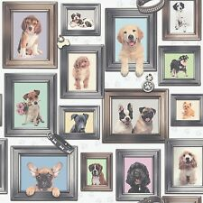 NEW PUPPY LOVE DOGS IN FRAMES BY RASCH WALLPAPER 272703 - Free Wallpaper Paste