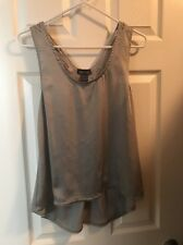 Wet Seal Juniors Size Small Tank Top Detailed Back Blouse Gray Silk