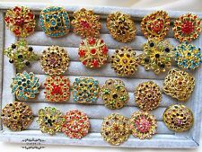 Brooch Lot 24 Gold Mixed Color Pin Rhinestone Crystal Wedding Bouquet DIY Kit